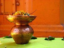 Holy Vessels. A holy vessels made of copper with other hindu ritual objects Royalty Free Stock Photos