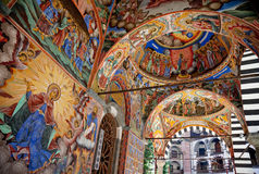 Holy Virgin Rila monastery fresco. Frescos on the facade of The church of the Nativity of the Virgin, the main church in Rila monastery, painted 1840-1847 royalty free stock photography
