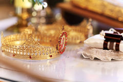 Holy water on gold ring on lace Royalty Free Stock Images