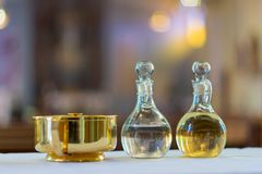 Holy Water and Oil for Unction Royalty Free Stock Photos