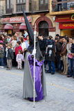 Holy week. MALAGA, SPAIN - APRIL 19: An unidentified Nazaren takes part in the traditional processions of Hole Week in the streets on April 19, 2011 in Malaga Royalty Free Stock Photos