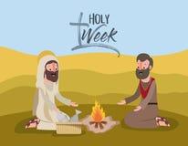 Holy week biblical scene. Vector illustration design Stock Photo