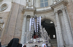 Holy Week in Cadiz, processions time. Royalty Free Stock Images