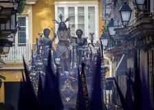 Holy Week in Cadiz,Spain. Jesus tied to the Column and Whips and Holy Mary of Tears, The Column. stock image