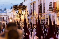 Holy Week Easter. Marchena SEVILLE, SPAIN. Marchena, SEVILLE, SPAIN - March 28, 2018: Procession of Holy Week`Semana Santa` in Marchena, SEVILLE. Holy Wednesday royalty free stock photos