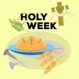 Holy week Last Supper of Jesus Christ, Thursday Maundy, established the sacrament of Holy Communion prior to his arrest. And crucifixion vector illustration Royalty Free Stock Photography