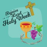 Holy week Last Supper of Jesus Christ, Thursday Maundy, established the sacrament of Holy Communion prior to his arrest. And crucifixion vector illustration Royalty Free Stock Photos