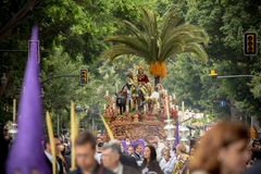 Holy Week in Malaga, Spain. Christ throne in Palm Sunday process Stock Photos