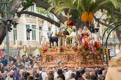 Holy Week in Malaga, Spain. Christ throne in Palm Sunday process Royalty Free Stock Photography