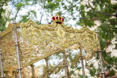 Holy week in Malaga, Spain. Details of embroidery and tassels of Stock Photography