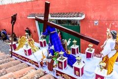 Holy Week procession passes, San Juan del Obispo, Guatemala Royalty Free Stock Images