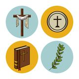 Holy week round icons. Icon vector illustration graphic design Stock Photography