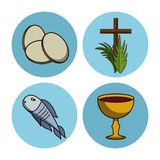 Holy week round icons. Icon vector illustration graphic design Royalty Free Stock Images