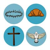 Holy week round icons. Icon vector illustration graphic design Stock Photos