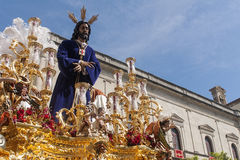 Holy Week in Seville Jesus captive and rescued. Step mystery of the brotherhood of jesus captive polygon through the streets of Seville at Easter or Passover Royalty Free Stock Image