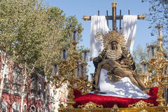 Holy Week in Seville Jesus died in the arms of his mother, brotherhood of Baratillo. Pass mystery of the brotherhood of Baratillo Holy Week in Seville Stock Photography