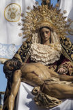 Holy Week in Seville Jesus died in the arms of his mother, brotherhood of Baratillo Stock Photography