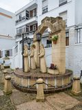 Holy Week statue in Arcos de la Frontera near Cadiz Spain. ARCOS DE LA FRONTERA, SPAIN - MARCH 14, 2018: Statue by local artists to celebrate Holy Week in Arcos Royalty Free Stock Image