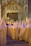 Holy week in Valladolid, Spain. Christ sculpture and Nazarenos parade during the celebration of holy week (semana santa) in Valladolid, Spain stock photo