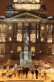 Holy Wenceslas on the Horse, Czech patron, on Wenceslas Square in the night, Prague Stock Images