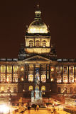 Holy Wenceslas on the Horse, Czech patron, on Wenceslas Square in the night, Prague Stock Photo