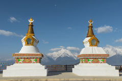 Holy white stupas at Deqing, Yunnan province, China. Royalty Free Stock Image