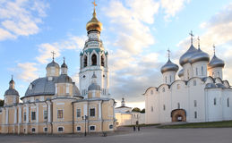 Holy Wisdom cathedral and the Resurrection Cathedral in Vologda, Russia Royalty Free Stock Image