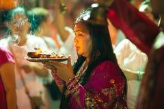 Holy Woman. Hindu Festival at the Sri Maha Mariamman Indian Temple on Silom Road, Bangkok, Thailand Stock Photo
