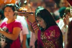 Holy Woman. Hindu Festival at the Sri Maha Mariamman Indian Temple on Silom Road, Bangkok, Thailand Royalty Free Stock Photo
