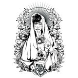 Holy Woman. T-shirt or poster print design Stock Photos