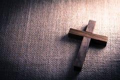 Holy Wooden Christian Cross Stock Photo