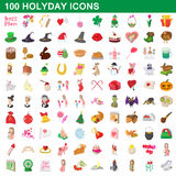 100 holyday icons set, cartoon style Stock Images