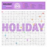 Holyday Thematische Inzameling van Lijnpictogrammen Stock Foto's