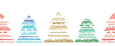 Christmas tree striped pattern set. Crayon hand drawing with colorful stroke. Holydays shape border design element. Fir-tree silhouette with sketch style Royalty Free Stock Photo