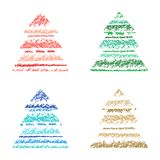 Christmas tree striped set crayon hand drawing with colorful stroke. Holydays shape design element. Fir-tree silhouette with sketch style. Vector pastel chalk Stock Photography