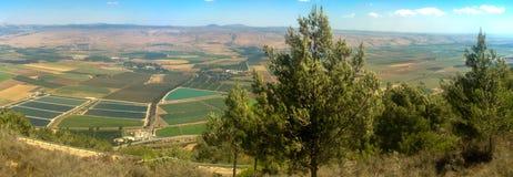 Holyland-Reihe - Hula-Tal Panoram Lizenzfreies Stockfoto