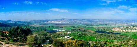 Holyland serie - lägre Galilee Panorama#1 Arkivbild