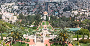 Holyland Series-Bahai Temple. A view from Mt. Carmel to the Bahai Temple and gardens with the German colony and downtown Haifa in the background Stock Photo