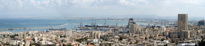 Holyland Series-Haifa Bay. A view from Mt. Carmel to the north Toward Haifa bay. Can see the port, the north tip of the bay-Acre and Downtown Haifa Stock Photography