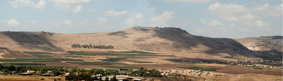 Holyland series-Horns of Hattin Panorama. A view from Arbel Valley to the south on the Ridge of Horns of Hattin, where salah a-din beat the Crusaders on July 4th Royalty Free Stock Image