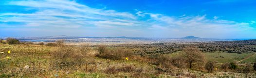 Holyland Series - Israel-Syrian Border. Shot in Central Golan heights, background of the image is the Syrian border area with its volcanic peaks,villages and Stock Images