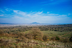 Holyland Series - Israel-Syrian Border2. Shot in Central Golan heights, background of the image is the Syrian border area with its volcanic peaks,villages and Royalty Free Stock Images