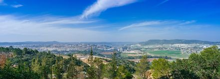 Holyland Series -Judea mountains panorama. A panoramic view of Bet Shemesh and Judea Mountains. In this area, Samson and Delila and Goliath and David, fought and Royalty Free Stock Image
