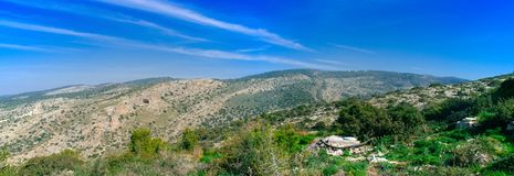 Holyland Series -Judea mountains panorama #2. A panoramic view Soreq Creek and Judea Mountains. In this area, Samson and Delila and Goliath and David, fought and Stock Image