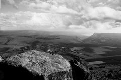 Holyland series-Mt. Arbel panorama. Near the city of Tiberias-A Black and White view of the Galilee and Arbel Valley. Dramatic Sky add to the beauty of the Stock Photos