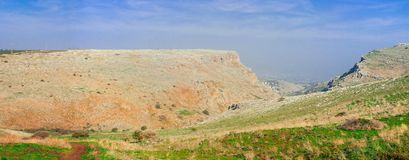 Holyland series-Mt. Arbel panorama. Mt. Arbel is a high ridge above the sea of Galilee, from which you can see Golan Heights, Jordan, Galilee and of course, the Stock Image