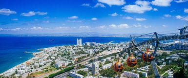 Holyland Series -Stella Maris Cable Car panorama. Panoramic view to the north from Stella Maris on the western tip of Mt. Carmel. In the far background, you can Royalty Free Stock Photos