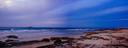 Holylandreeks - Palmachim-Strand Panorama#2 Stock Afbeelding