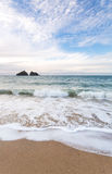 Holywell bay beach Stock Photo