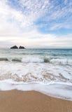 Holywell bay beach Stock Photo